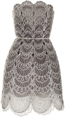 Oscar de la Renta Scallop-Trim Flared Mini Dress