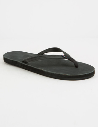 Rainbow Narrow Strap Black Womens Sandals