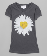 Charcoal & White Daisy V-Neck Tee - Girls