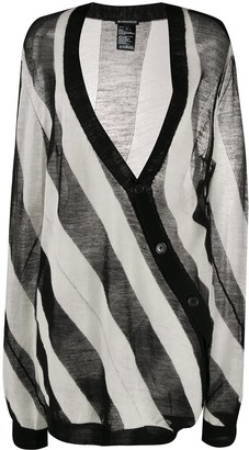 Ann Demeulemeester Asymmetric Striped Cardigan