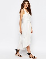 Vila Folk Tie Waist Midi Dress