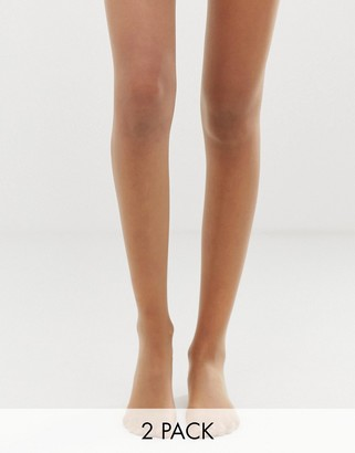 Gipsy soft luxury gloss 15 denier 2 pack tights in beige