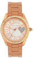 Betsey Johnson BJ00048-48 Ladies Rose Gold Glittery Heart Design Watch