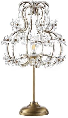 Jonathan Y Designs Clara 20.5In Crystal Flower Beaded Girandole Metal/Acrylic Led Table Lamp
