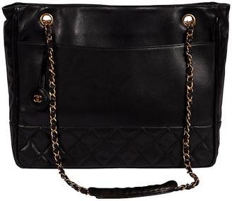 One Kings Lane Vintage Chanel Vintage Black Shoulder Tote - Vintage Lux