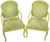 One Kings Lane Vintage Carved Palm Frond Leaf Armchairs - Set of 2 - Acquisitions Gallerie - yellow/blue