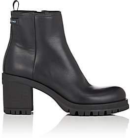 Prada Women's Lug-Sole Leather Ankle Boots - Nero