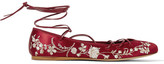 Etro Lace-up Embroidered Satin Ballet Flats - Claret