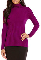 Ellen Tracy Wide Rib Knit Turtleneck Top