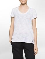 Calvin Klein Performance Cold Shoulder Slub Textured T-Shirt