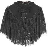 Co Felt-paneled Embellished Lace Cape - Black