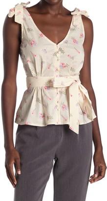 FRNCH Tie Strap Floral Print Top