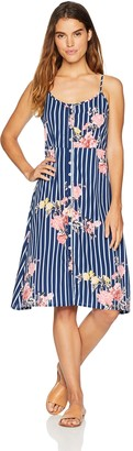 Oasis Wild Beachwear Women's Bodice Floral Printed Tank Dress with Button Detailing & Spaghetti Straps Medium Blue