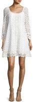 Nanette Lepore Eye Candy Cotton Eyelet Swing Dress, White
