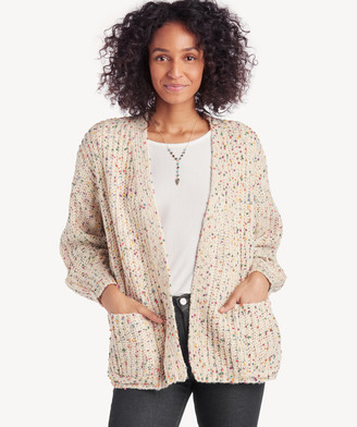 Sole Society Women's Speckled Chunky Knit Cardigan Ivory One Size From
