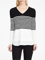 Calvin Klein Striped V-Neck Crepe Sweater