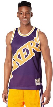 Mitchell & Ness Big Face Jersey Lakers (Purple) Men's Clothing