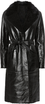 Yves Salomon Patent Shearling Trench