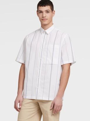 DKNY Men's Short Sleeve French Placket Shirt - Standard White - Size XS