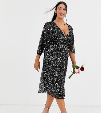 Maya Bridesmaid delicate sequin wrap midi dress in black