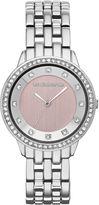 Liz Claiborne Womens Pink Crystal-Accent Bracelet Watch