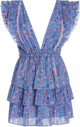 LoveShackFancy Bennett Tiered Floral-Print Cotton-Georgette Mini Dress