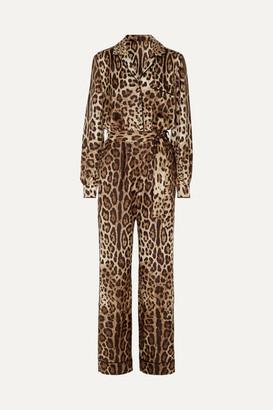 Dolce & Gabbana Leopard-print Silk-twill Jumpsuit - Black
