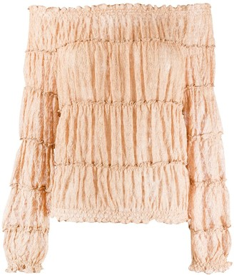Missoni Off-The-Shoulder Tiered Blouse