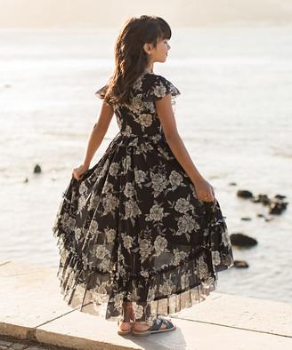 Joyfolie Girls' Casual Dresses Black - Black & White Floral Ruffle Hi-Low Clarissa Dress - Toddler & Girls