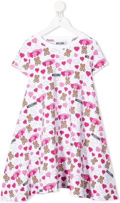 MOSCHINO BAMBINO Bear And Heart Print Dress