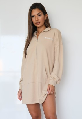 Missguided Stone High Neck Oversized Sweater Dress