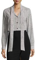 MICHAEL Michael Kors Tie-Neck Graphic Scale-Print Silk Blouse, Cream