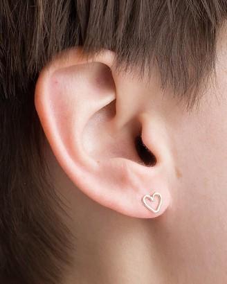 Express One Six Five Silver Heart Stud Earrings