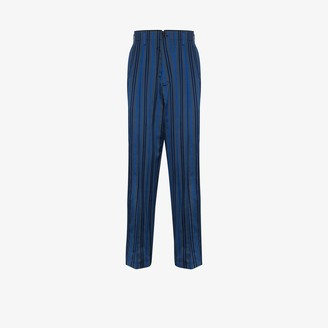Haider Ackermann Striped Silk And Cotton Blend Trousers