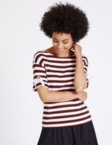 Marks and Spencer Striped Eyelet Tie Sleeve T-Shirt