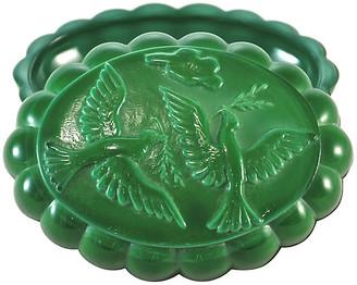 One Kings Lane Vintage Malachite Glass Peace Dove Box - Design Line