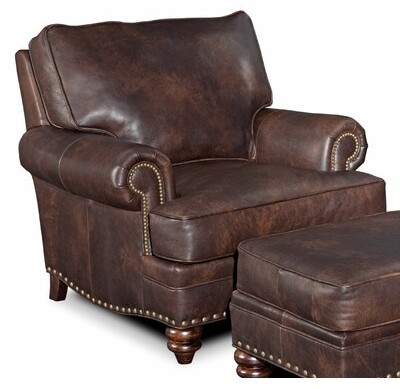 """Thumbnail for your product : Bradington-Young Carrado 32"""" Wide Genuine Leather Stationary Chair Upholstery Color: Anilina Tan"""