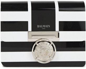 Balmain Striped Perspex Clutch