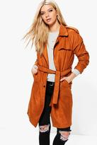Boohoo Amber Suedette Belted Trench