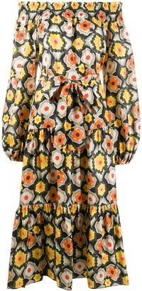 Temperley London Crochet-Print Off-Shoulder Dress
