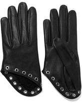 Alexander McQueen Eyelet-embellished Leather Gloves - Black