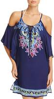 Trina Turk Lotus Batik Cold Shoulder Tunic Swim Cover-Up