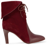 Chloé Leather-paneled Suede Ankle Boots - Burgundy