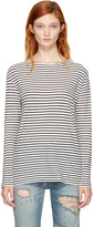 R 13 Ecru and Black Striped Boatneck T-shirt