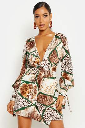 boohoo Woven Mixed Animal Print Twist Front Shift Dress