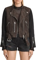 AllSaints Jensen Color-Block Suede Biker Jacket