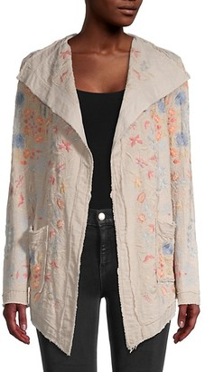 Johnny Was Open-Front Cotton-Blend Cardigan