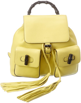 Gucci Yellow Leather Backpack