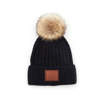 Funky Junque Womens Beanie Warm Soft Knit Winter Thick Ribbed Faux Fur Pom Hat - black - One Size