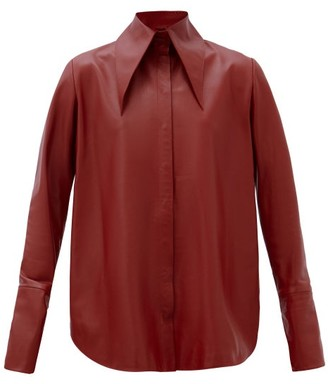 16Arlington Seymour Spearpoint-collar Leather Shirt - Burgundy